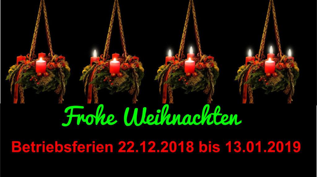 Frohe Weihnachten – Betriebsferien vom 22. 12.2018 bis 13.01.2019